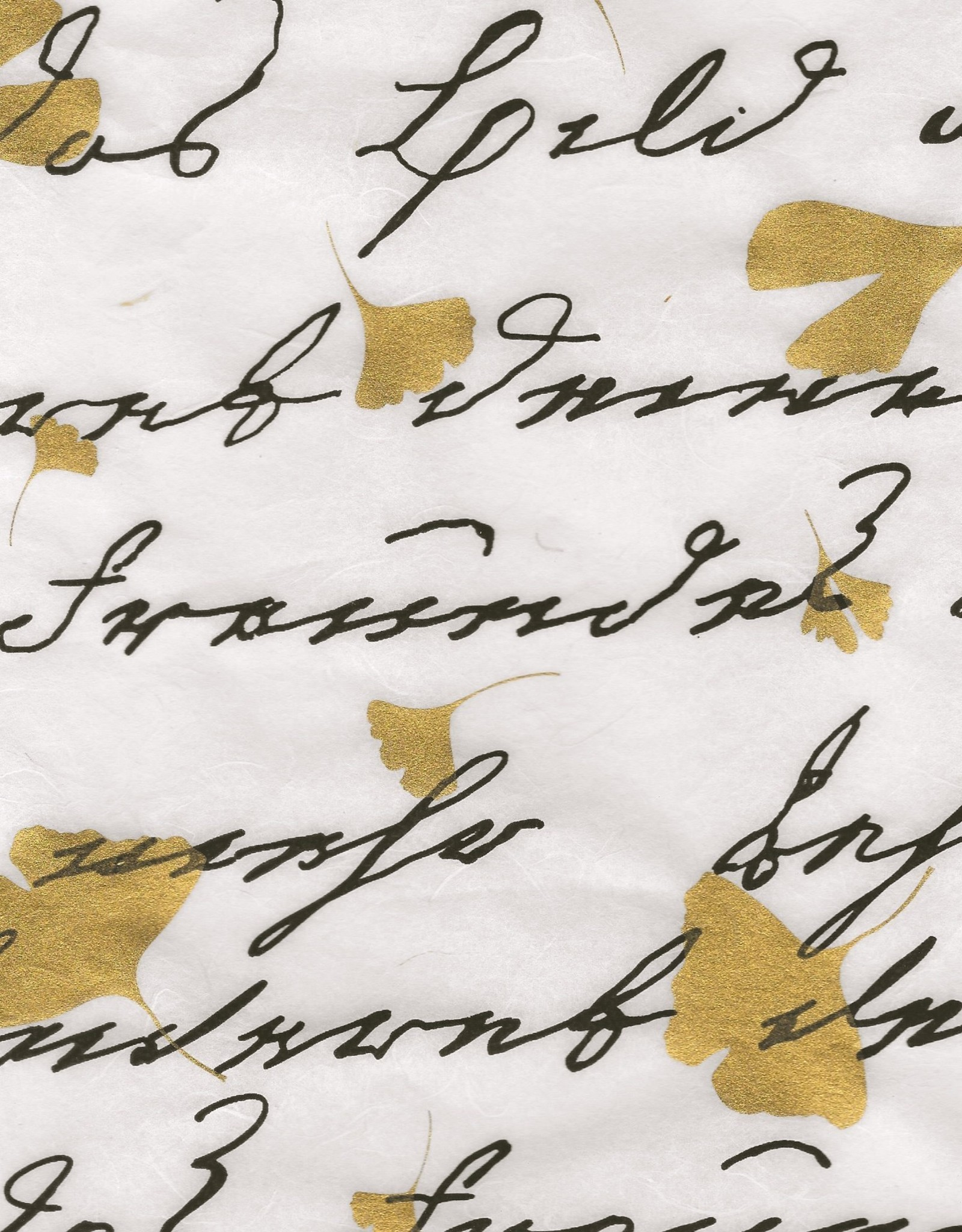 "Thai Writing Euroscript with Gold Ginkgo Leaves, 25"" x 38"""