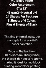 """Block Printing Pack: Thai Mulberry Assorted Pack, 24 Sheets, 9"""" x 12"""" (3 Each of Tea, Pear, Sky Blue, Red, Purple, Mustard, and 6 sheets of Black)"""