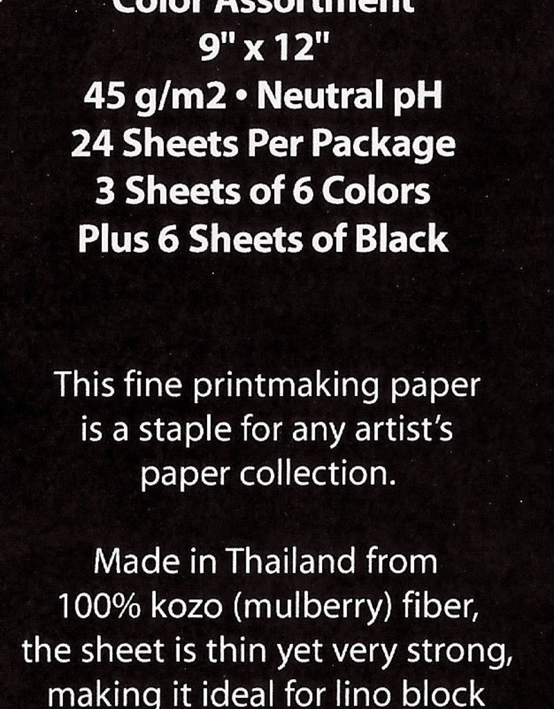 """Thailand Thai Mulberry Assorted Pack, 24 Sheets, 9"""" x 12"""" (3 Each of Tea, Pear, Sky Blue, Red, Purple, Mustard, and 6 sheets of Black)"""