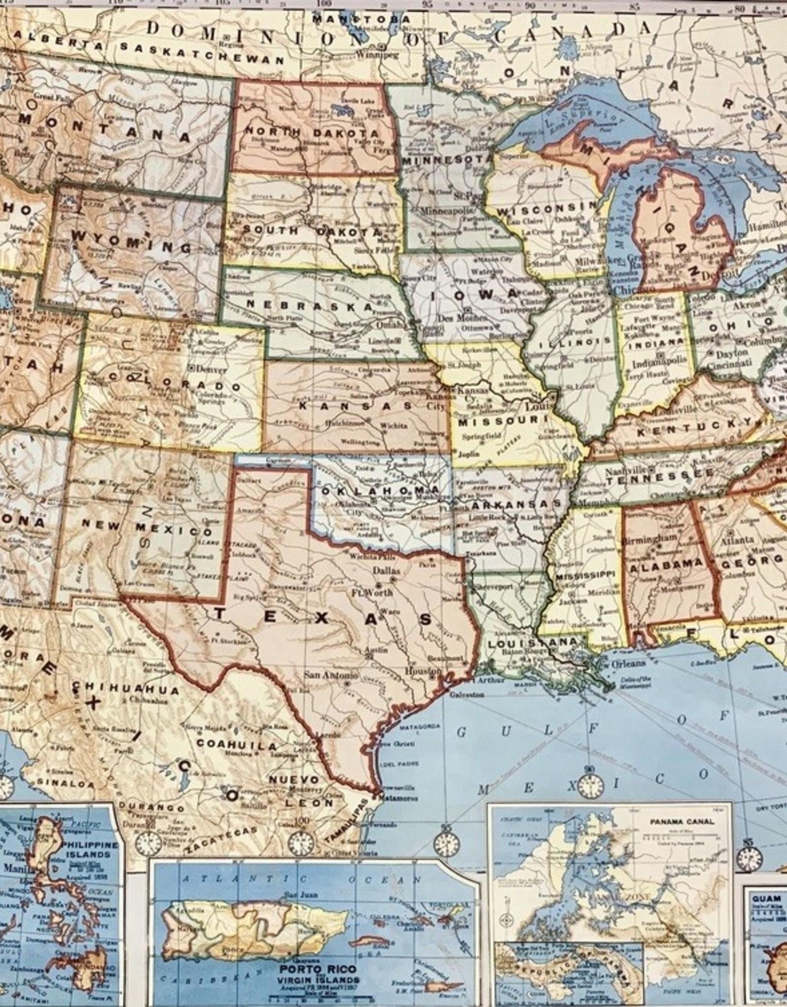 "Cavallini United States Map, Cavallini Poster Print, 20"" x 28"""