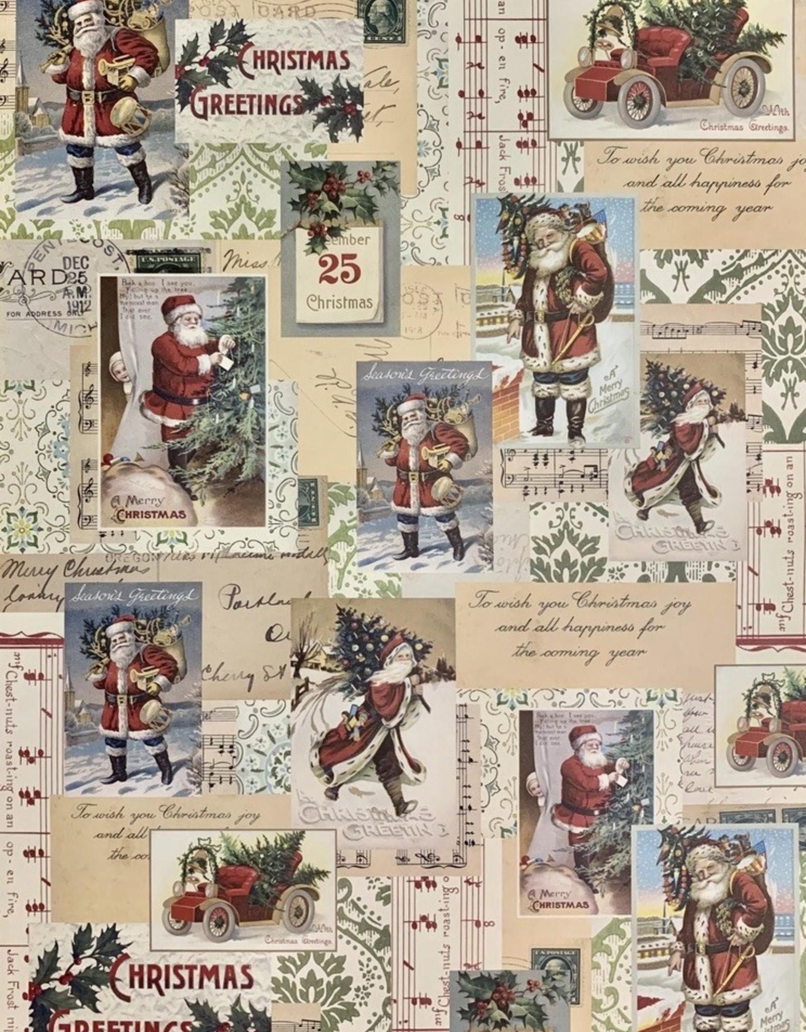 """Cavallini Santa Collage, Cavallini Poster Print, 20"""" x 28"""""""