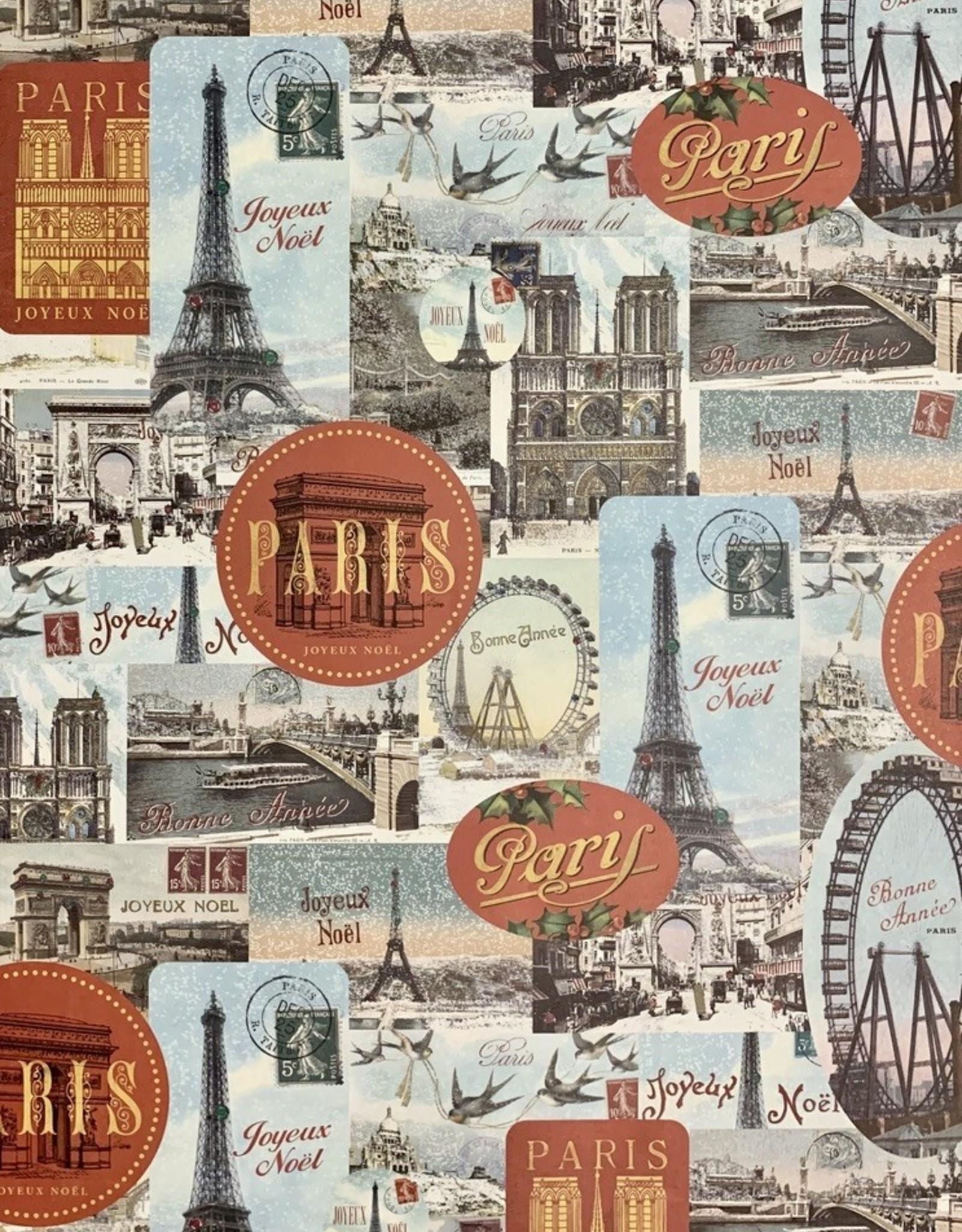 """Cavallini Paris Joyeux Noel, Cavallini Poster Print, 20"""" x 28"""""""