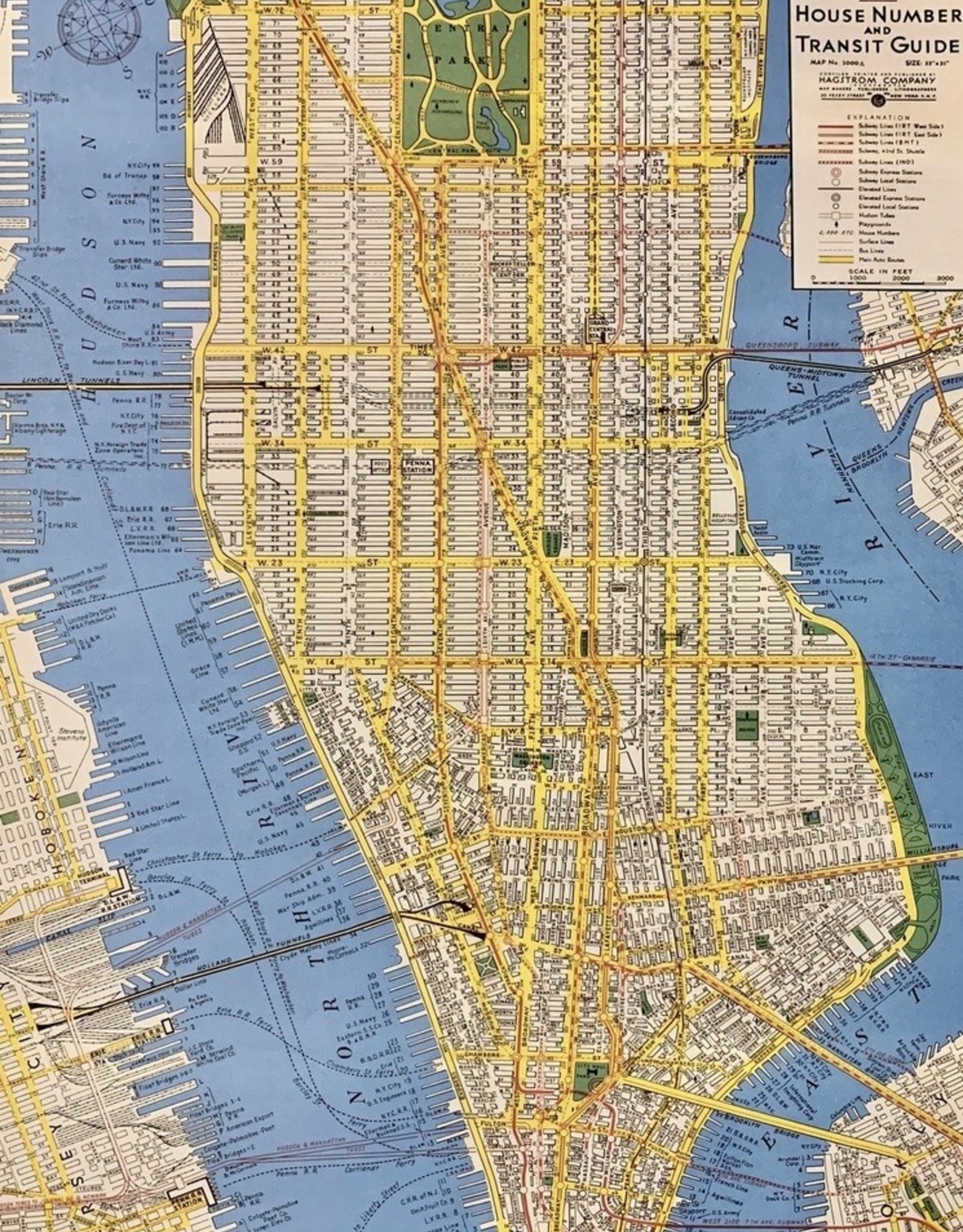 "Cavallini New York City Map, Cavallini Poster Print, 20"" x 28"""