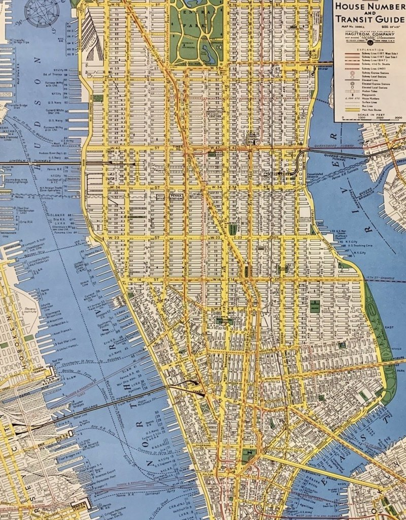 "Cavallini New York City Map, Poster Print, 20"" x 28"""