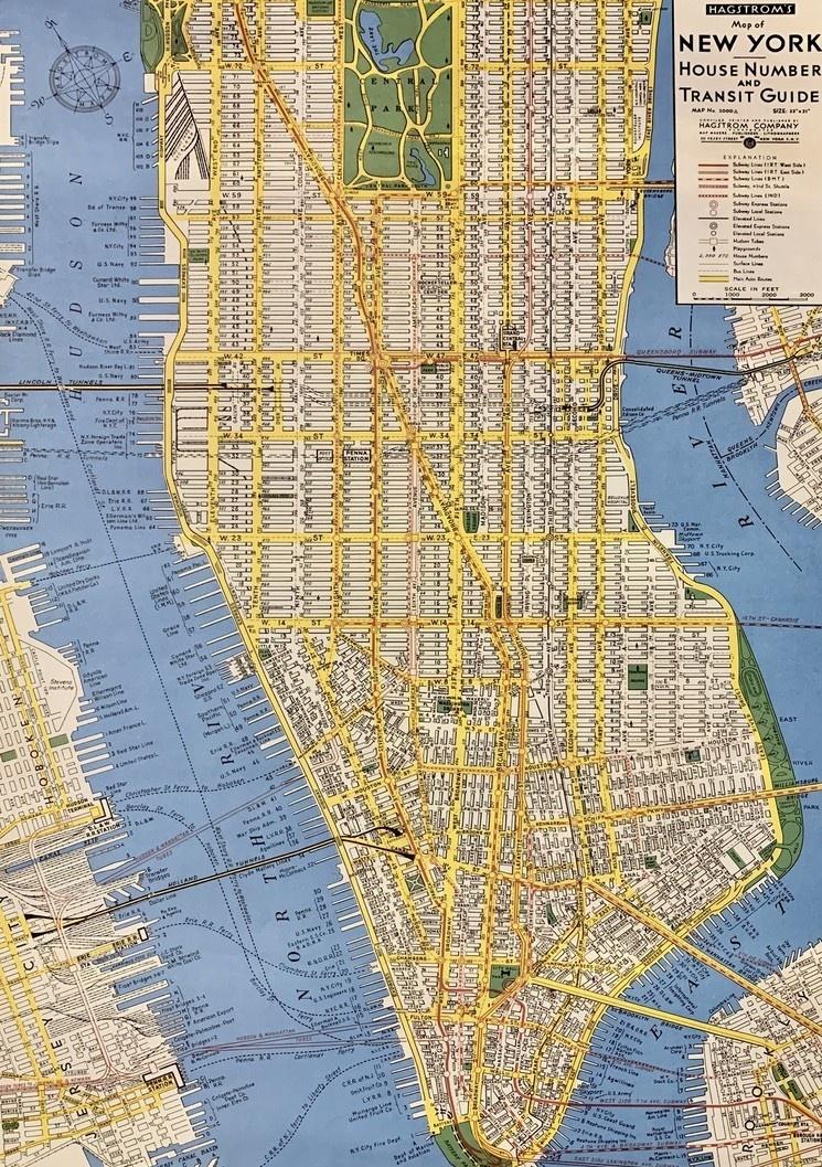 Cavallini New York City Map Poster Print 20 Quot X 28