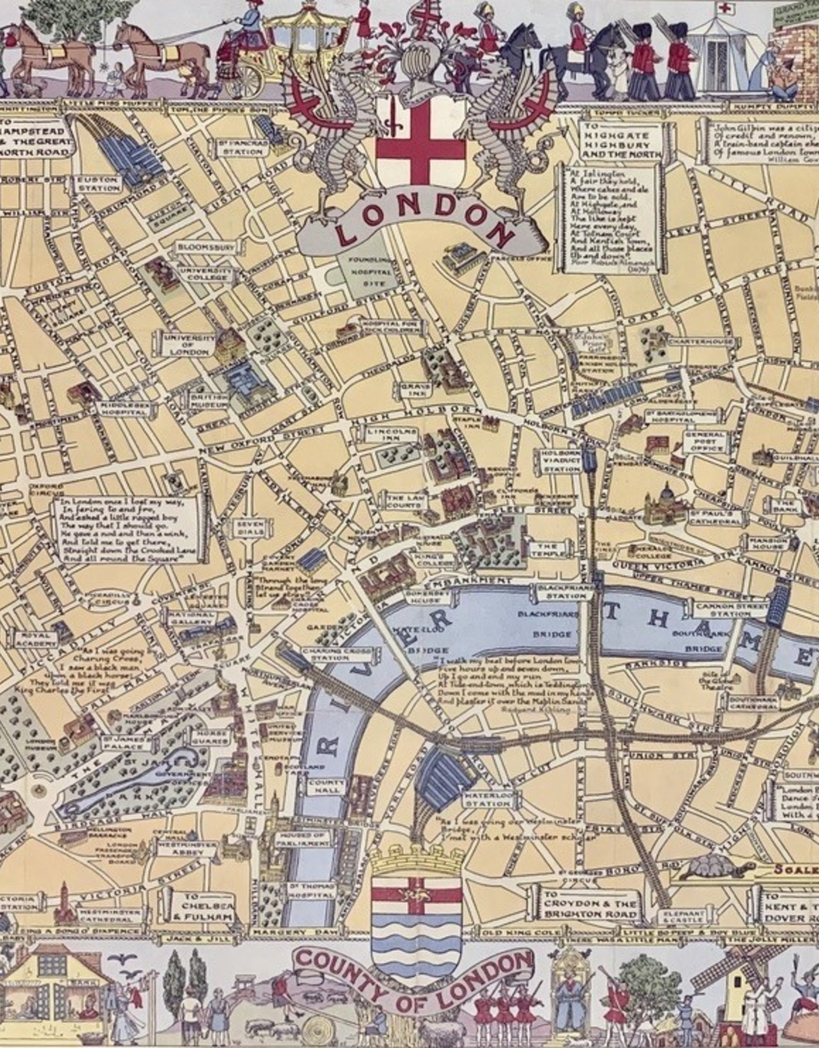 "Cavallini London Map, Poster Print, 20"" x 28"""
