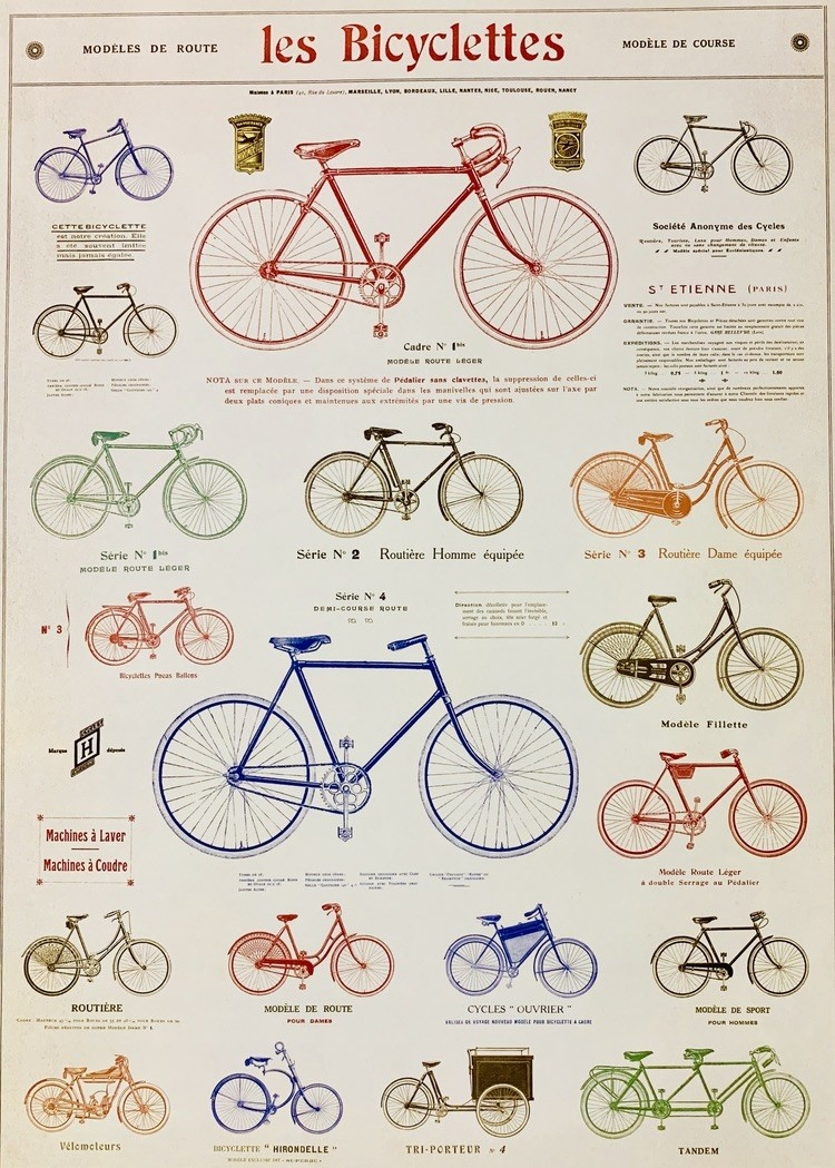 Les Bicycle Poster Print 20 X 28 Dolphin Papers