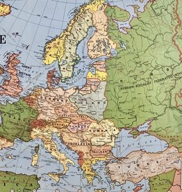 "Cavallini Europe Map Horizontal, Poster Print, 20"" x 28"""