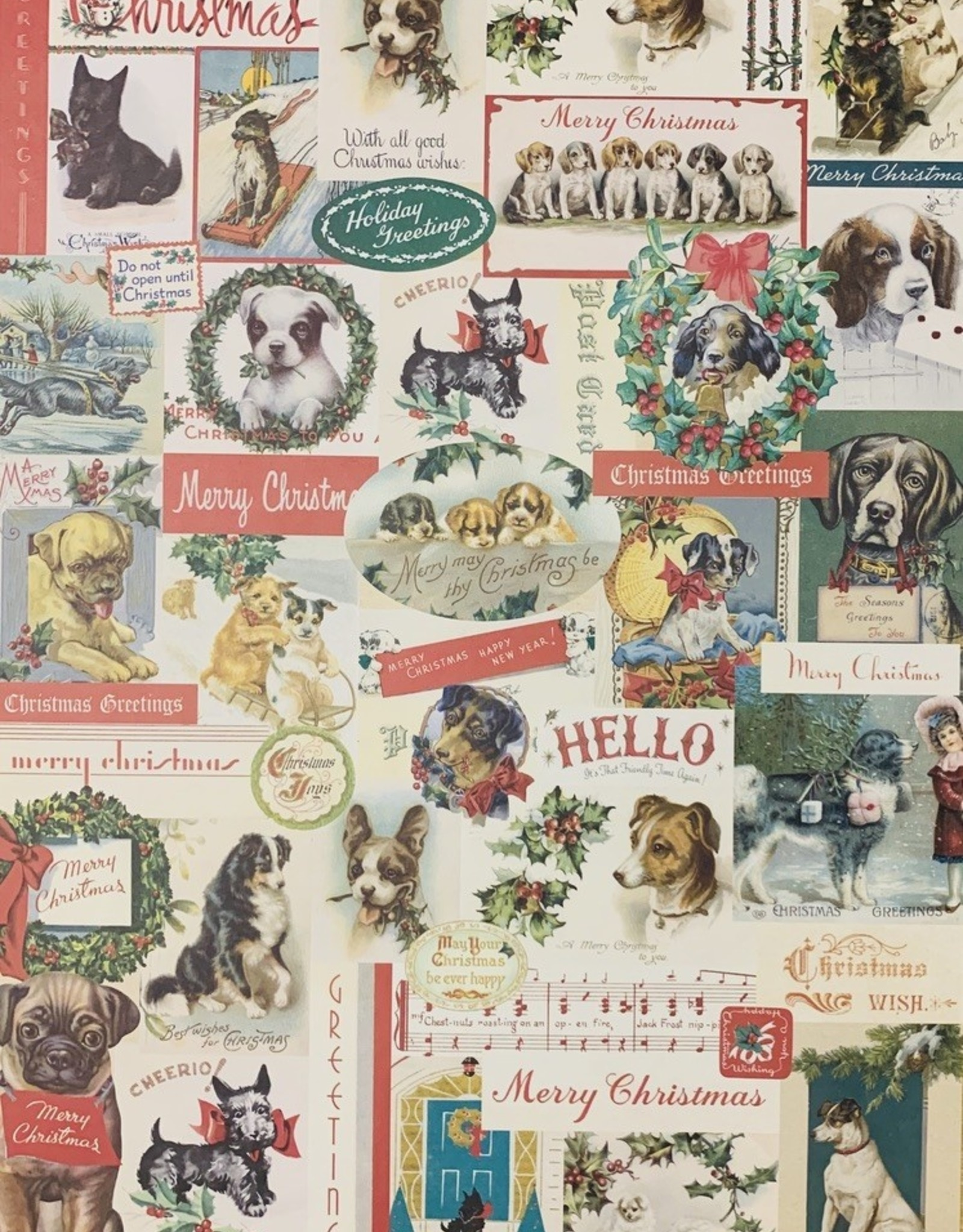 "Cavallini Christmas Dogs, Cavallini Poster Print, 20"" x 28"""