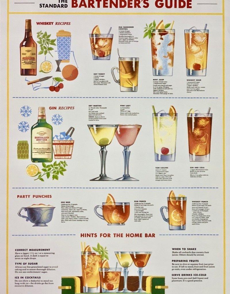 "Cavallini Bartender Guide, Poster Print, 20"" x 28"""
