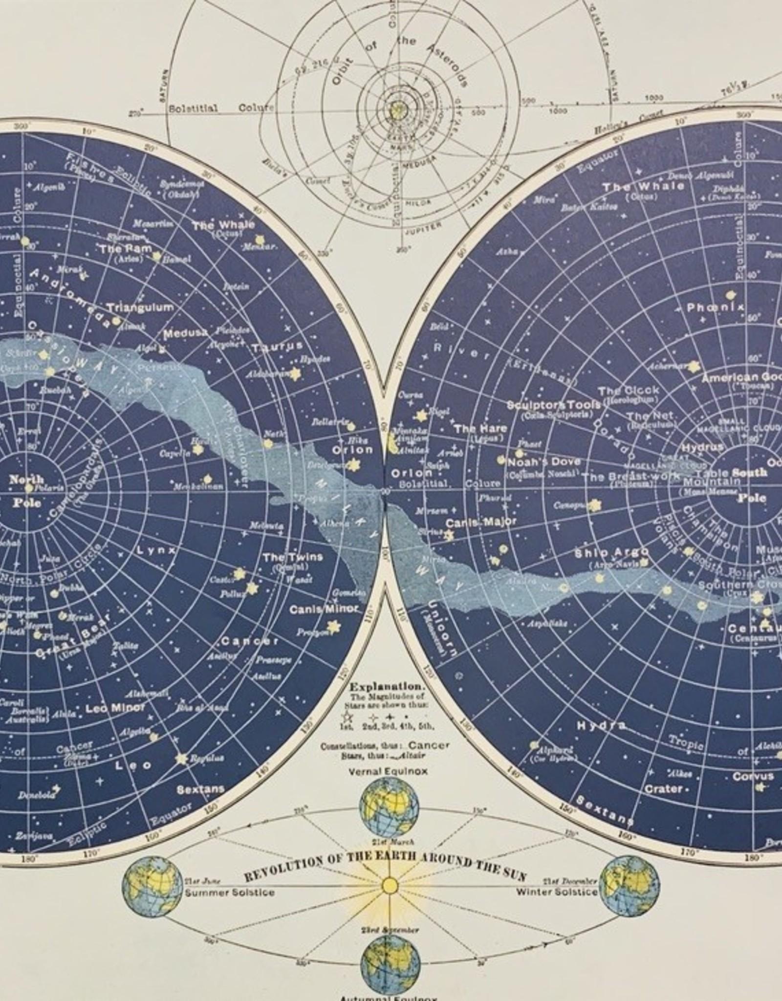 "Cavallini Celestial Map, Cavallini Poster Print, 20"" x 28"""