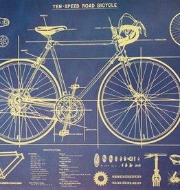 "Cavallini Bike Blueprint, Cavallini Poster Print, 20"" x 28"""