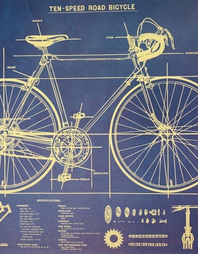 "Cavallini Bike Blueprint, Poster Print, 20"" x 28"""