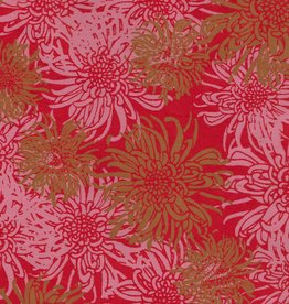 "Laurelai Chrysanthemum on Red, 20"" x 28"""