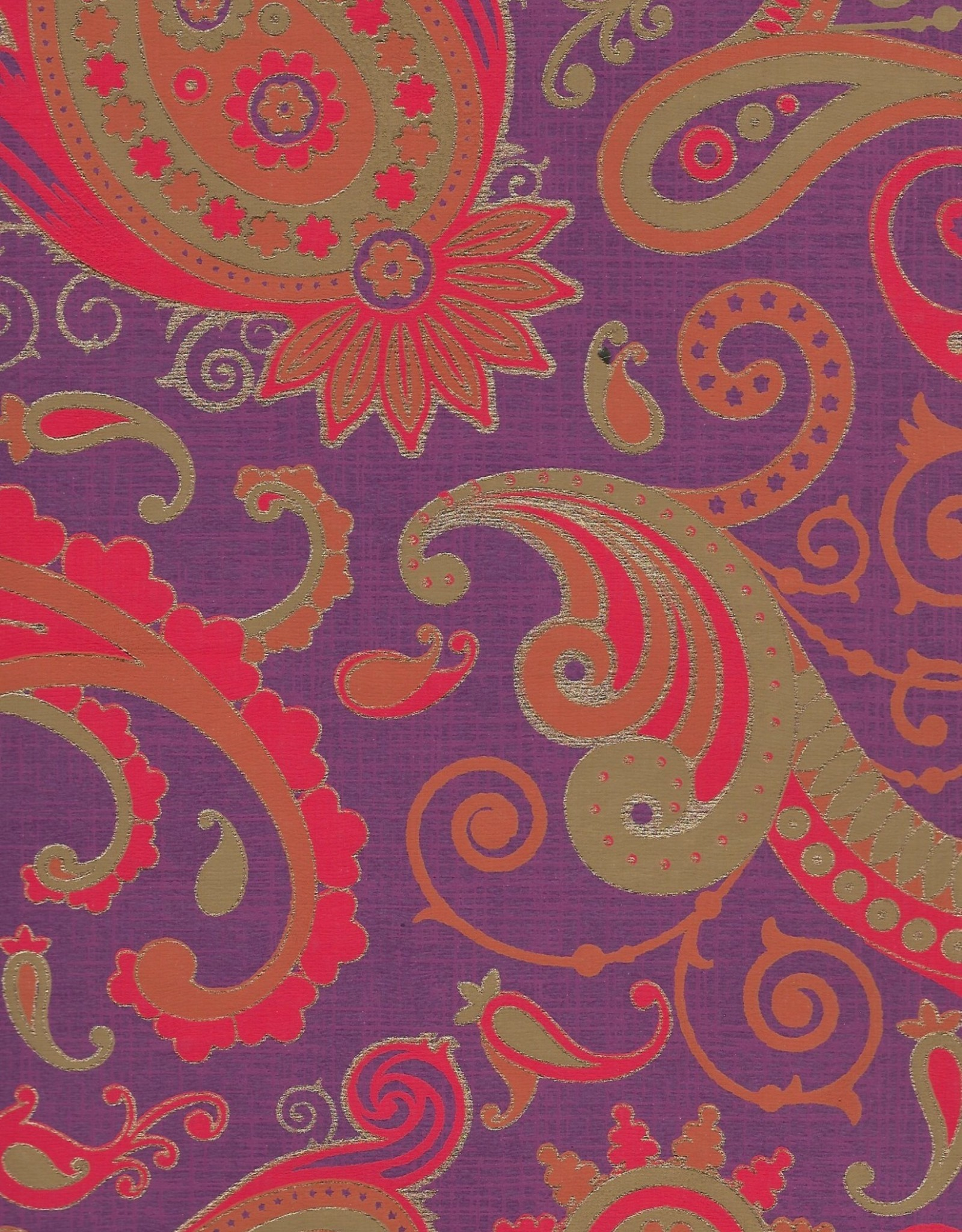 "Sixties Psychedelic Paisley Sun, Red, Orange, Mustard, Gold on Purple, 22"" x 30"""