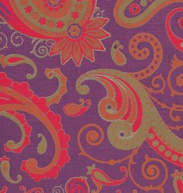 """India Sixties Psychedelic Paisley Sun, Red, Orange, Mustard, Gold on Purple, 22"""" x 30"""""""