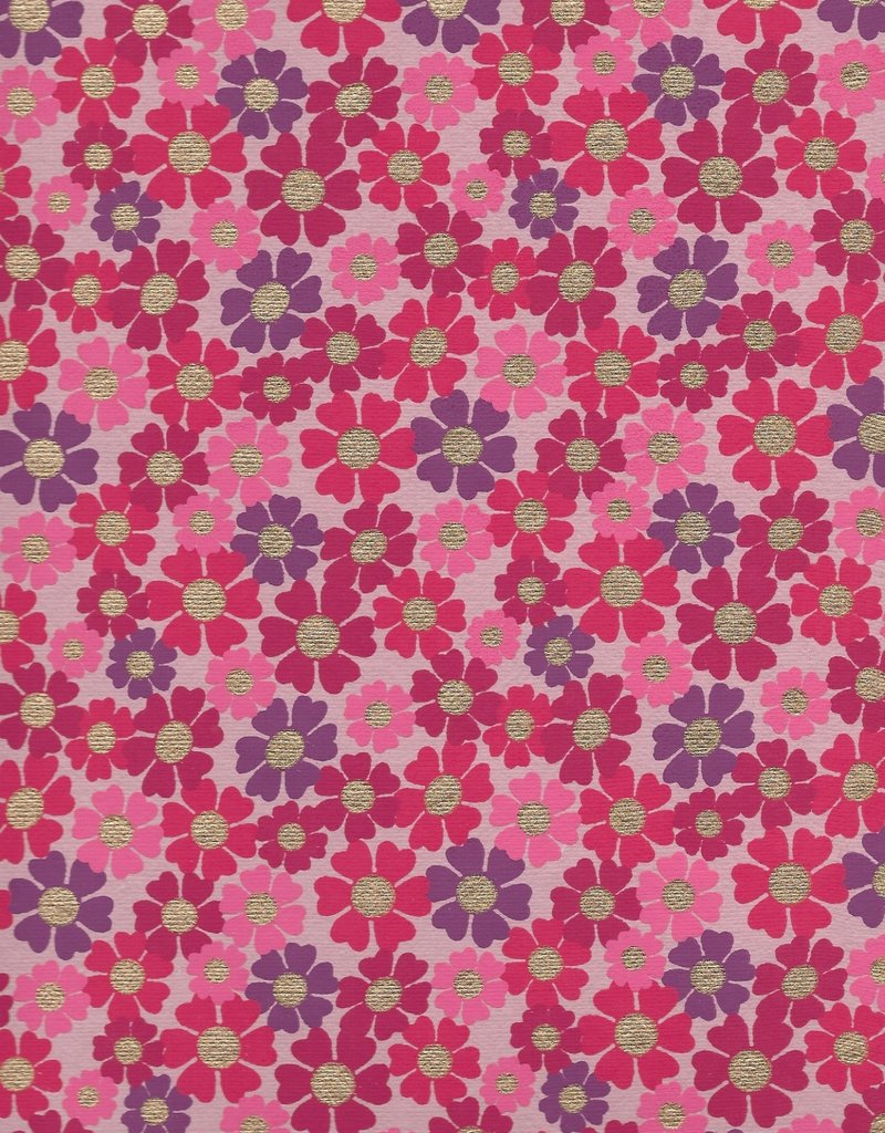 """India Daisies with Gold Dots, Red, Pink, Purple on Pink Paper, 22"""" x 30"""""""