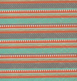 "Egyptian Rug, Orange, Light Blue, Gold on White, 22"" x 30"""