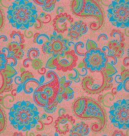 """Paisley and Blooms, Blue, Green, Red and Gold on Pink, 22"""" x 30"""""""