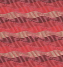 """Indian Waves, Gold and Burgundy on Red, 22"""" x 30"""""""