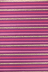 "India Indian Stripes, Pink, Dark Pink, Gold on Purple, 22"" x 30"""