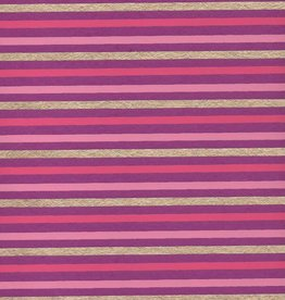 "Stripes, Pink, Dark Pink, Gold on Purple, 22"" x 30"""