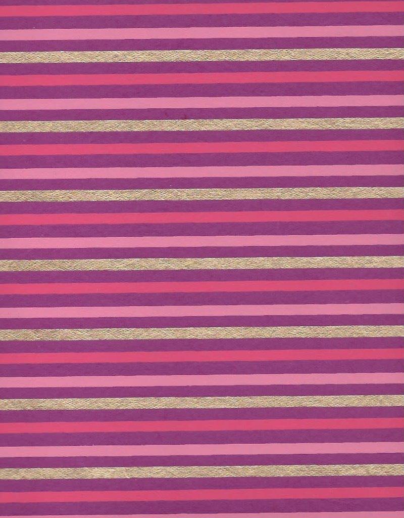 "Stripes, Pink, Dark Pink, Gold on Purple, 22"" x 30"""