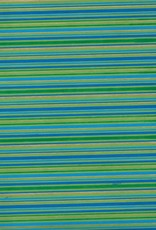 "Indian Stripes, Blue, Green, Gold on Green, 22"" x 30"""