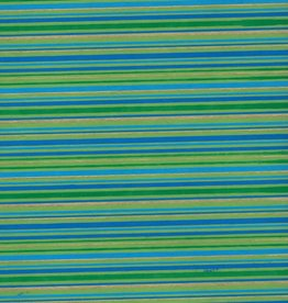 "India Indian Stripes, Blue, Green, Gold on Green, 22"" x 30"""