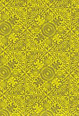 """Ornate Mosaic Pattern, Moss and Yellow, 22"""" x 30"""""""