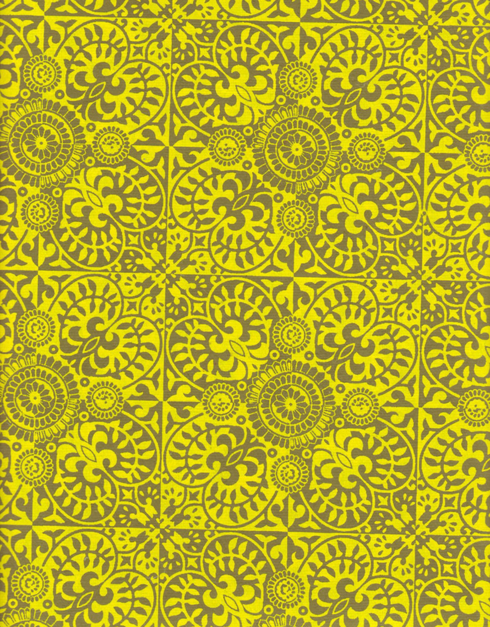 """Ornate Pattern Moss and Yellow, 22"""" x 30"""""""