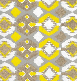 "India Indian Design, Rock Circles with Diamonds, Yellow, White, Gold on Gray, 22"" x 30"""