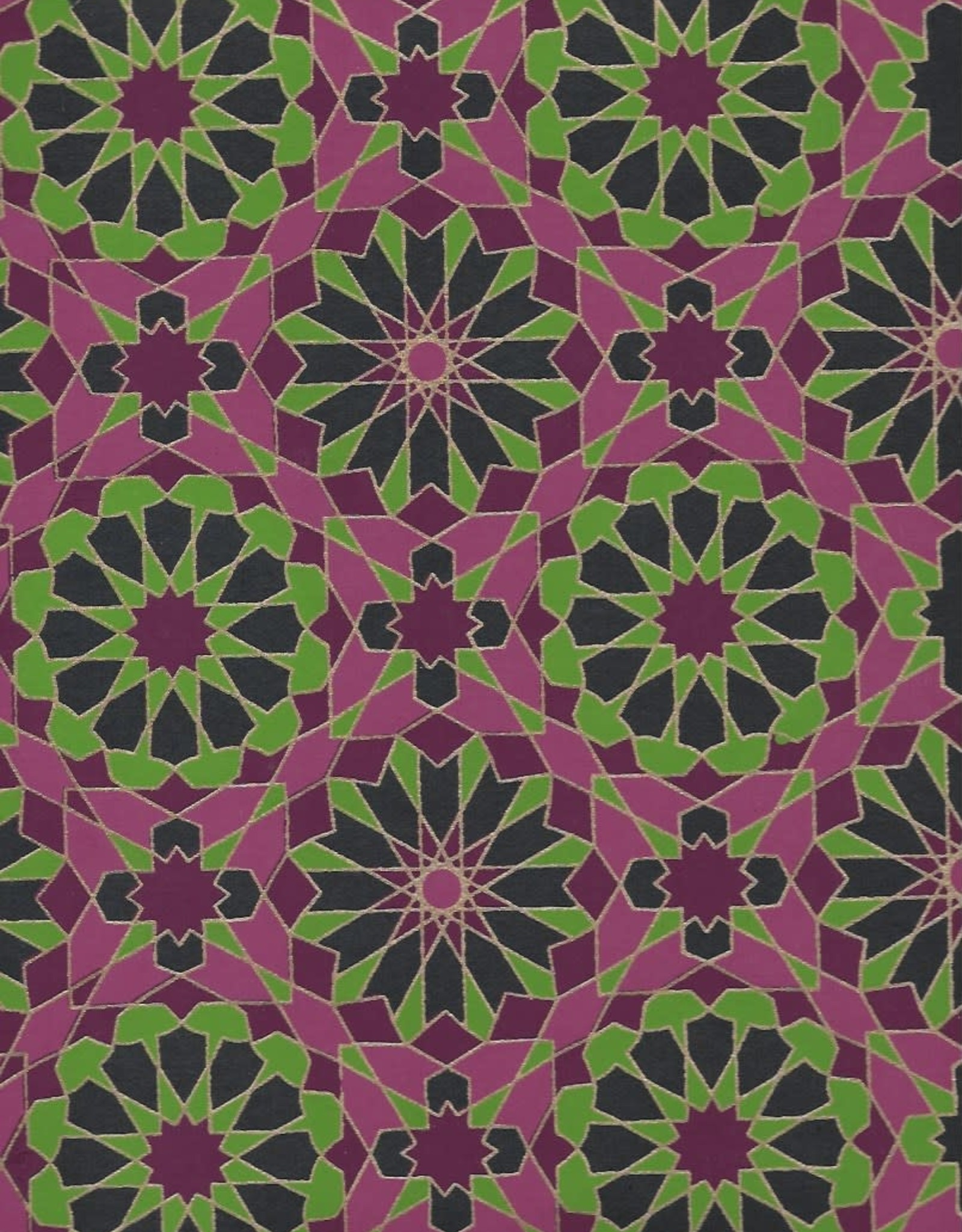 """Star Mosaics, Green, Purple with Gold Lines on Navy, 22"""" x 30"""""""