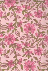 """Wild Flowers Pink, Green on Pink, 22"""" x 30"""""""