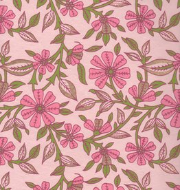 "Wild Flowers Pink, Green on Pink, 22"" x 30"""