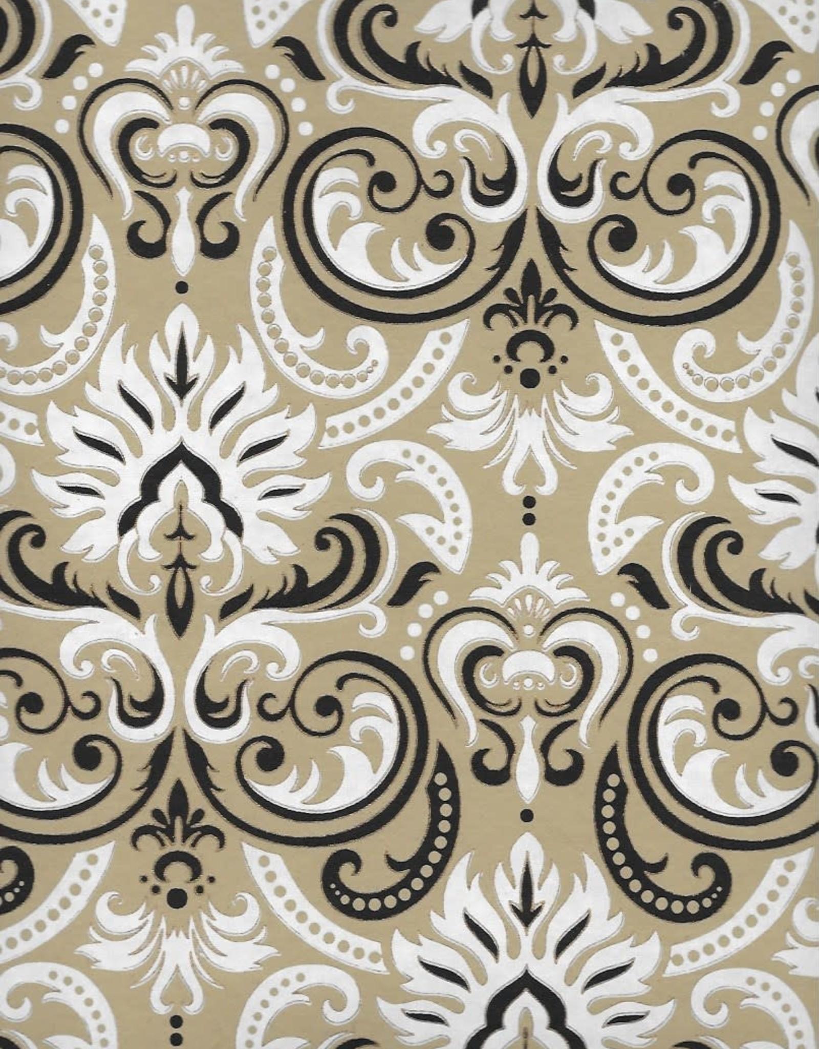 "White Fire Ornate Swirls, White, Black, Gold on Light Brown, 22"" x 30"""