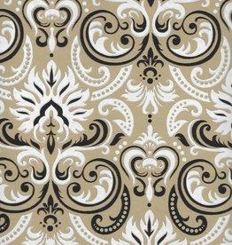 "India White Fire Ornate Swirls, White, Black, Gold on Light Brown, 22"" x 30"""