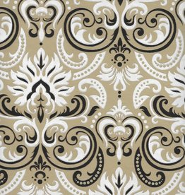 "White Fire Ornate Swirls, White, Black, Gold on Light Brown, 22"" x 30"""