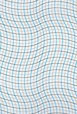 "Wavy Grid, Blue, Gold on White, 22"" x 30"""
