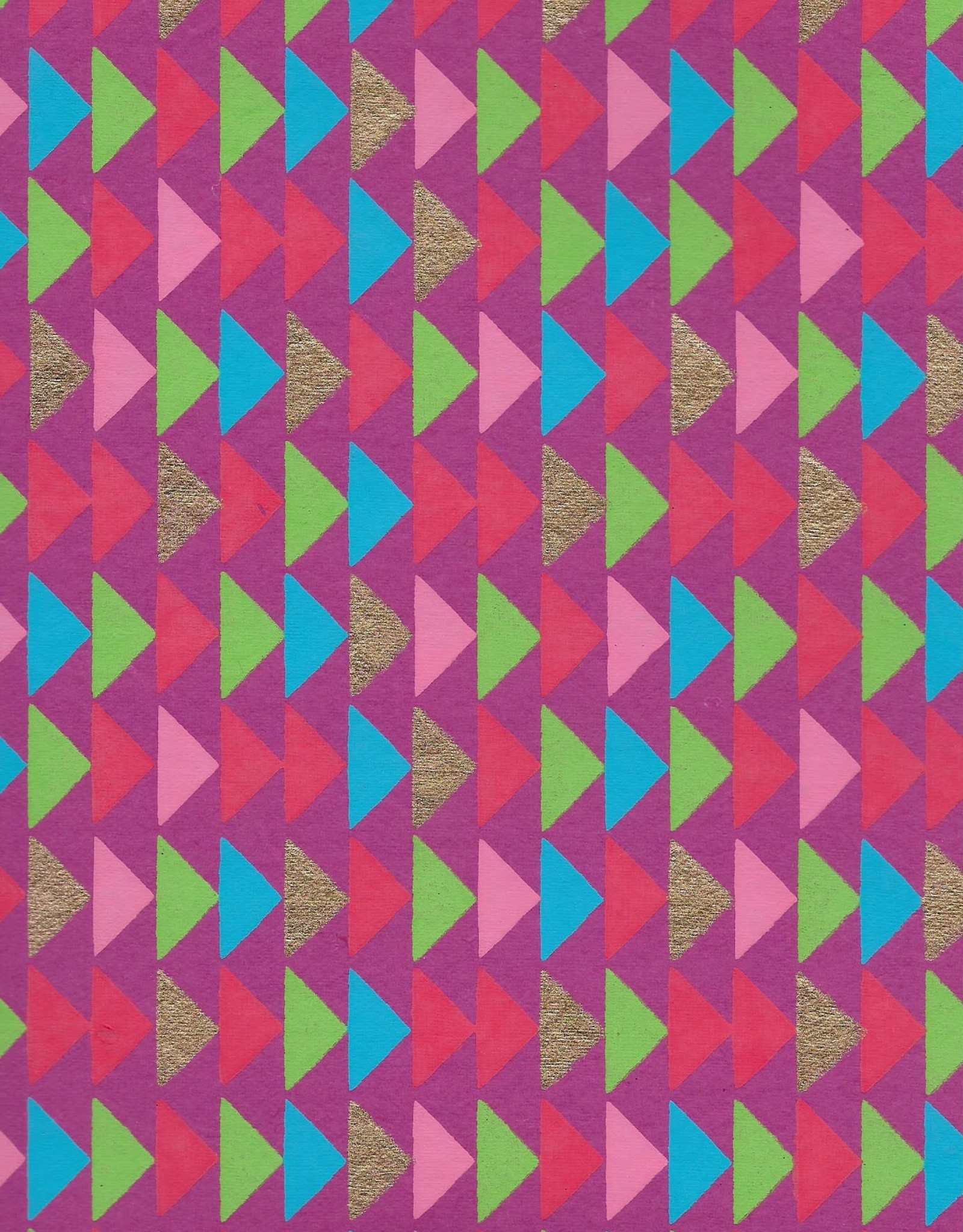 """Triangle Stacks, Red, Pink, Green, Blue, Gold on Magenta, 22"""" x 30"""""""