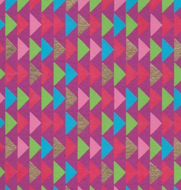 "Triangle Stacks, Red, Pink, Green, Blue, Gold on Magenta, 22"" x 30"""