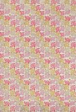 "Swirly Rose, Orange, Lilac, Mustard, Gold on Natural, 22"" x 30"""