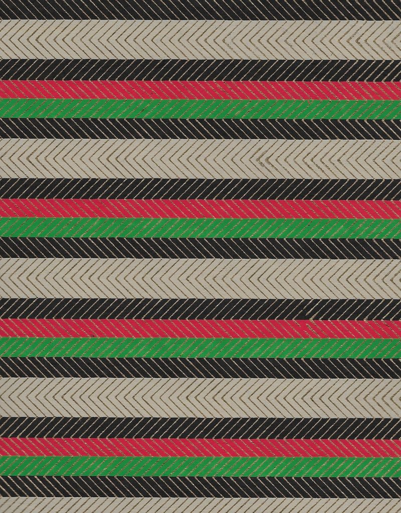 India Stripes with Zig Zag Gold Lines