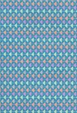 "Triangle Mobile, Orange, Seafoam, Silver, Blue, Purple on Blue, 22"" x 30"""