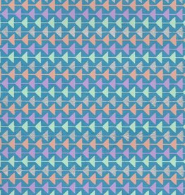 "Triangle Mobile, Orange, Seafoam, Silver, Purple on Blue, 22"" x 30"""