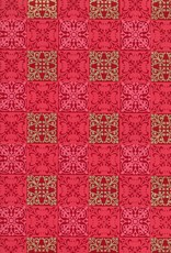 "Quilt Squares, Red, Pink, Gold on Red, 22"" x 30"""