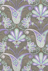 "Peacock Flowers, Seagreen, Light Purple, Lavender, Gold Lines on Grey, 22"" x 30"""