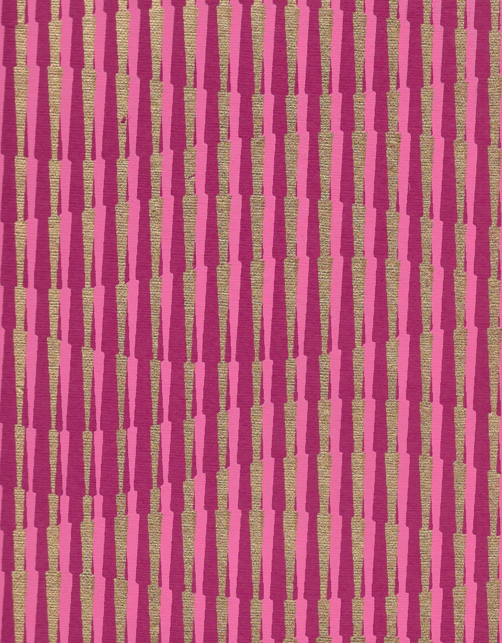 "Optical Illusion, Hillside, Magenta, Pink with Gold on Purple, 22"" x 30"""