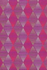 "Optical Illusion Diamond, Red, Grey, Gold on Purple, 22"" x 30"""