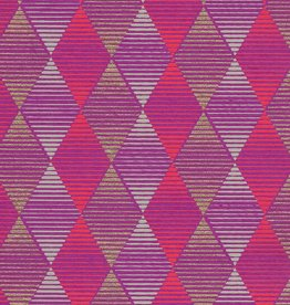 "Optical Illusion Diamond, Red, Grey, Gold on Purple, 22"" x 30"""